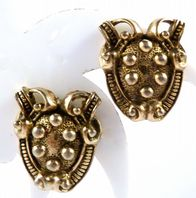 Vintage Heraldic Shield Design Clip On Earrings By Jewelcraft.